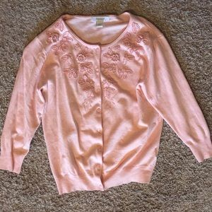 Dress Barn Floral Embroidered Cardigan Sweater